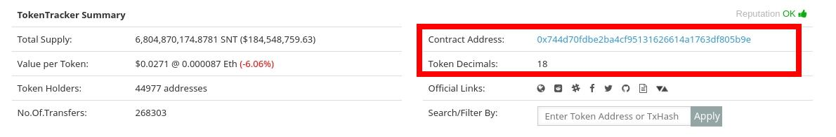 Image of Etherscan token contract address