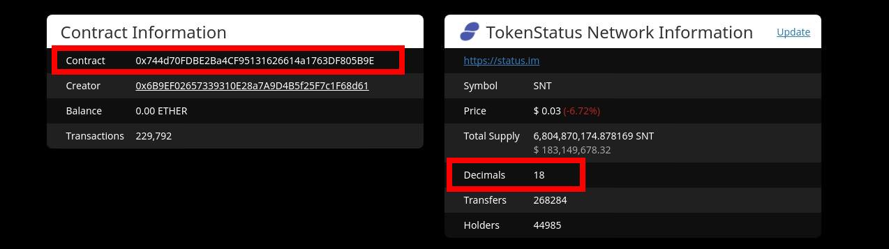 Image of Ethplorer token contract address