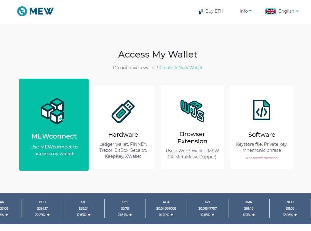 Image of MEW access wallet page