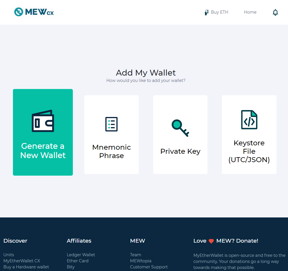 Image of MEW CX 'generate a new wallet'