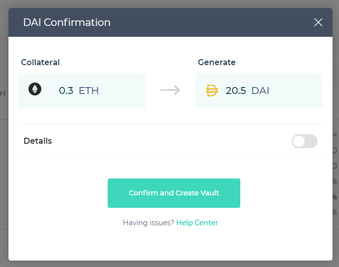 Image of confirming the MakerDAO transaction