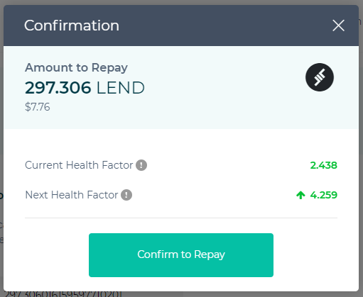 Image of health factor after repayment