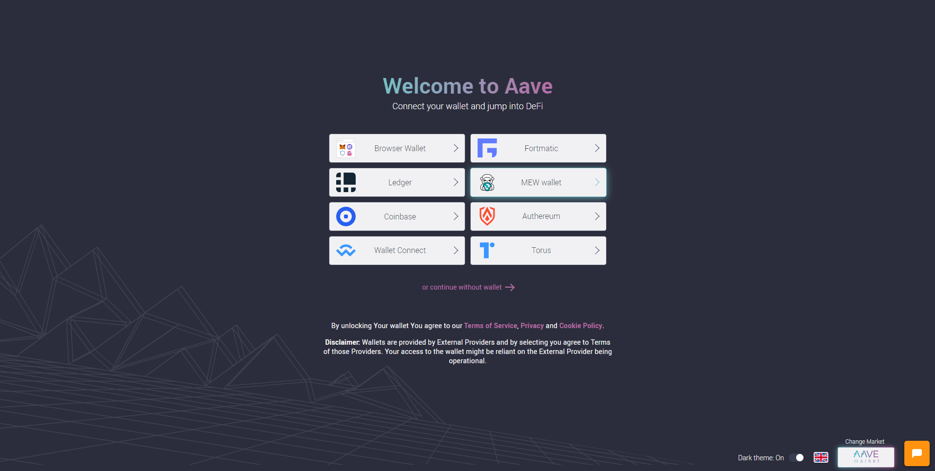 Image of Aave access screen