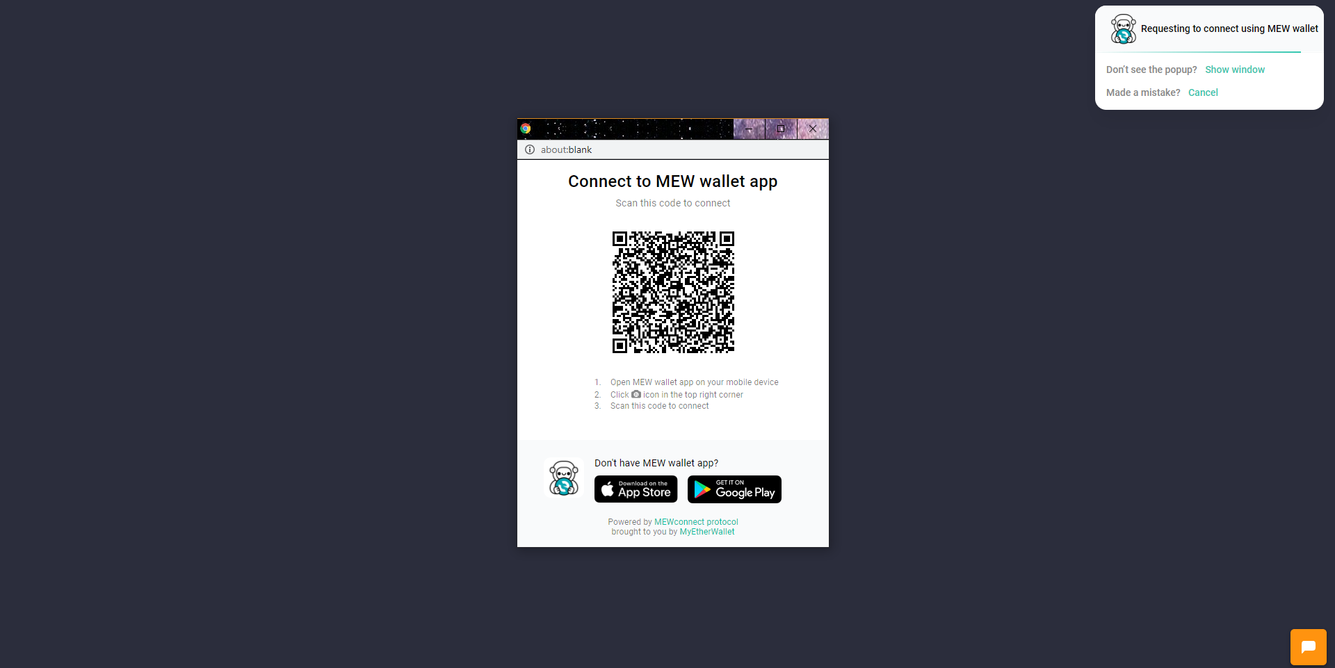 Image of MEWconnect QR code