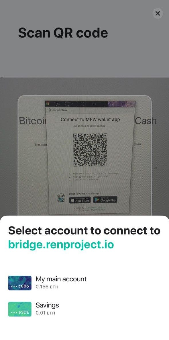 Image of MEW wallet scanning the QR code