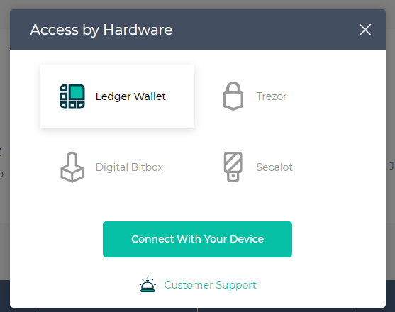 Image of Hardware Wallet access screen