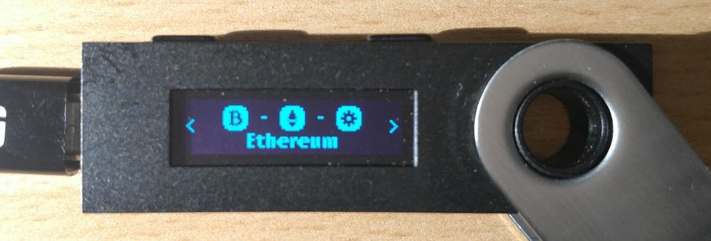 Image of Ledger device on Ethereum app