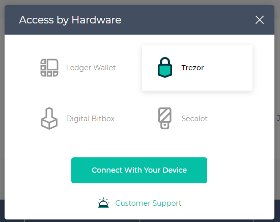 Image of Hardware category with Trezor selected