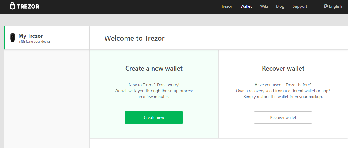 Image of Trezor set-up process