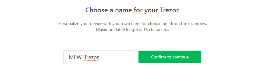 Image of Trezor naming process