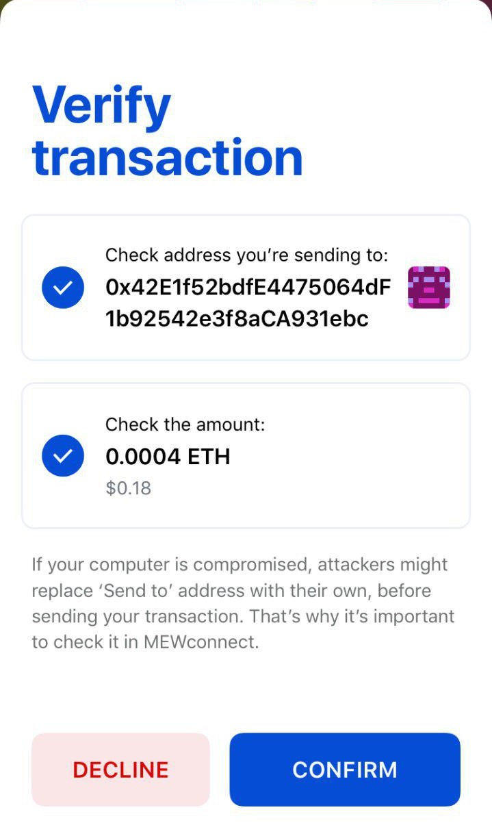 Image of MEWconnect confirming a transaction