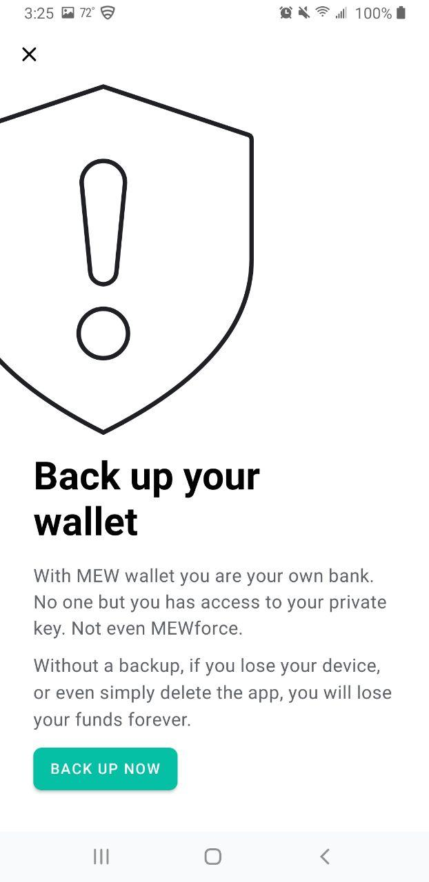 Image of MEW wallet back up details screen
