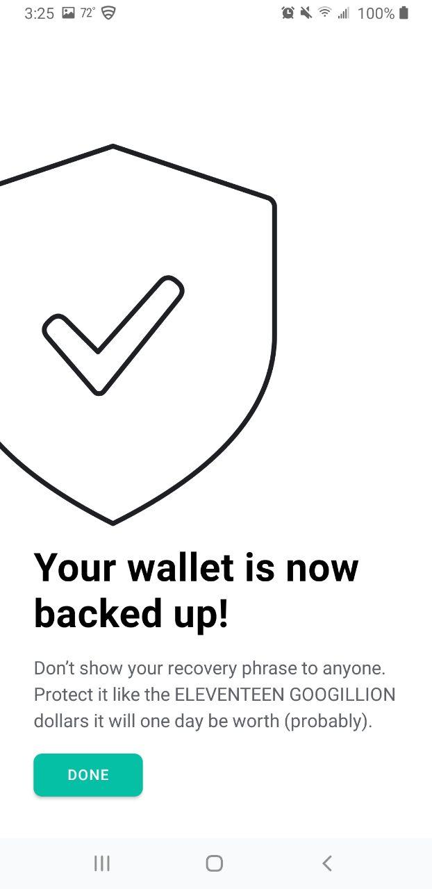 Image of MEW wallet successfully backed up