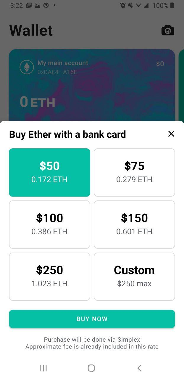 Image of MEW wallet Android payment