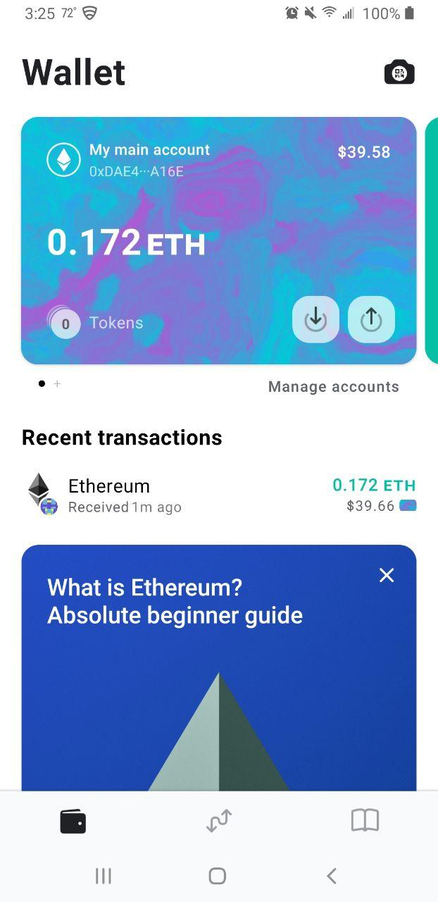 Image of MEW wallet funded account