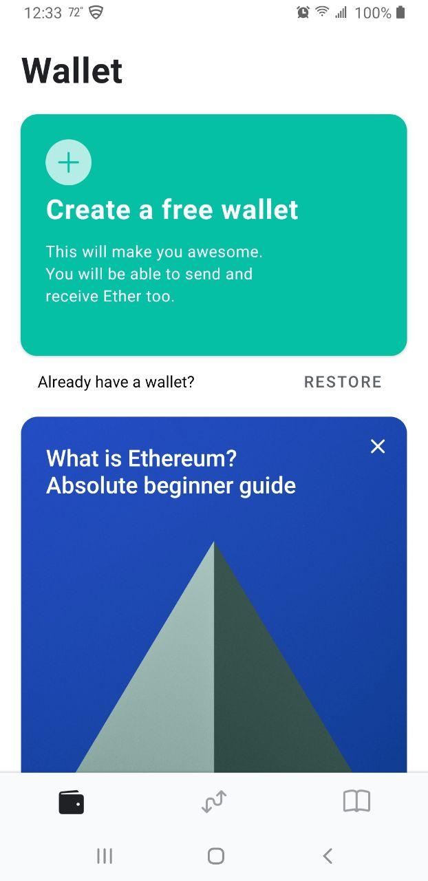 Image of MEW wallet 'Create wallet' page