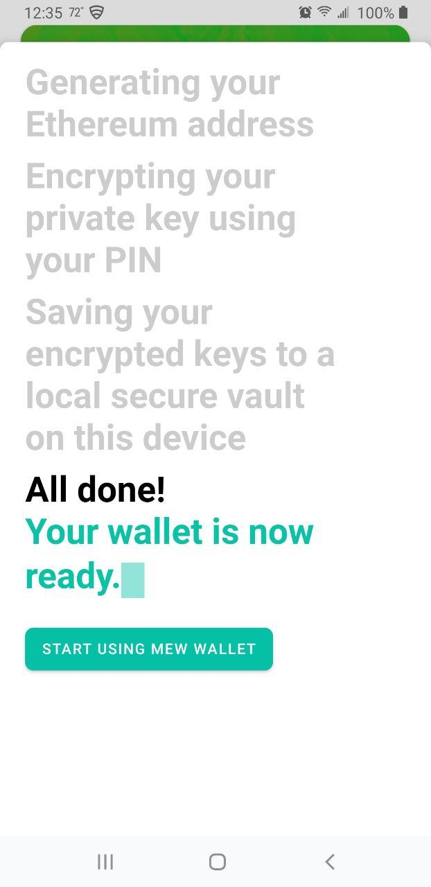Image of MEW wallet generating a new wallet