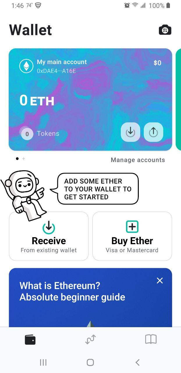 Image of newly created MEW wallet account