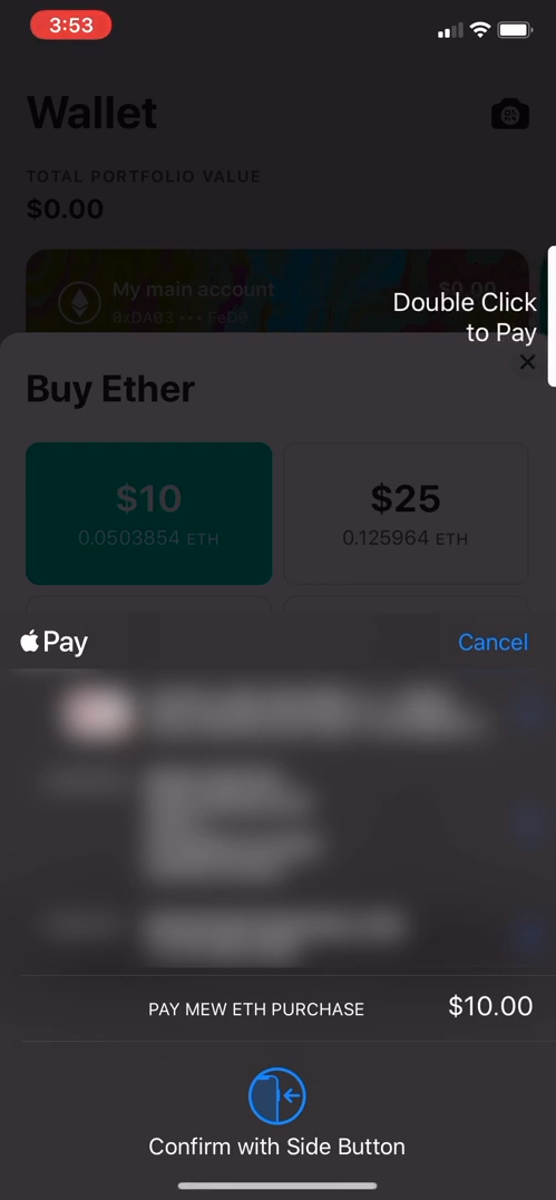 Image of MEW wallet Apple Pay