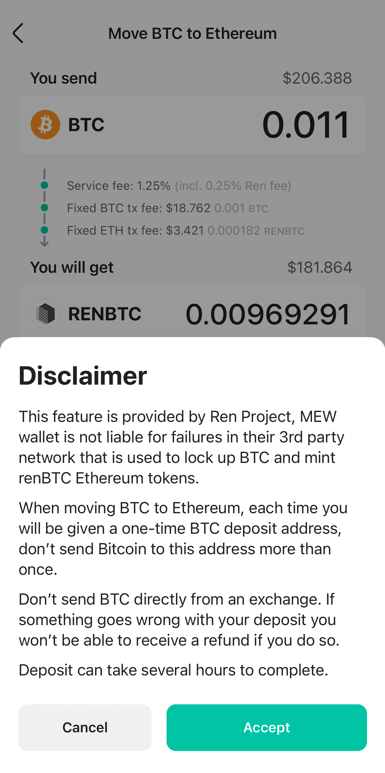 Image of MEW wallet connected successfully