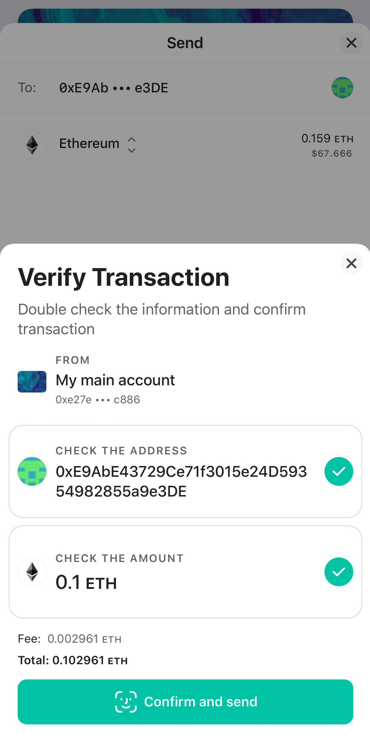Image of MEW wallet processing transaction