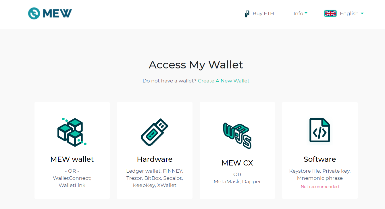 Image of MEW wallet access selection page