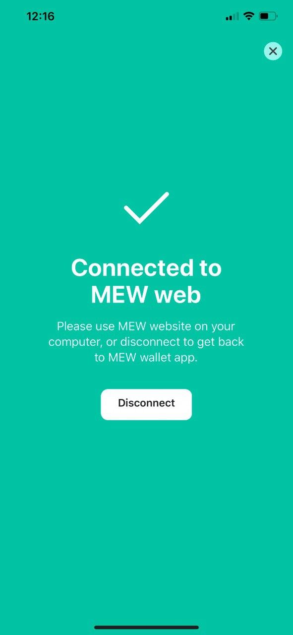 Image of MEW wallet 'Connected to MEW web' screen