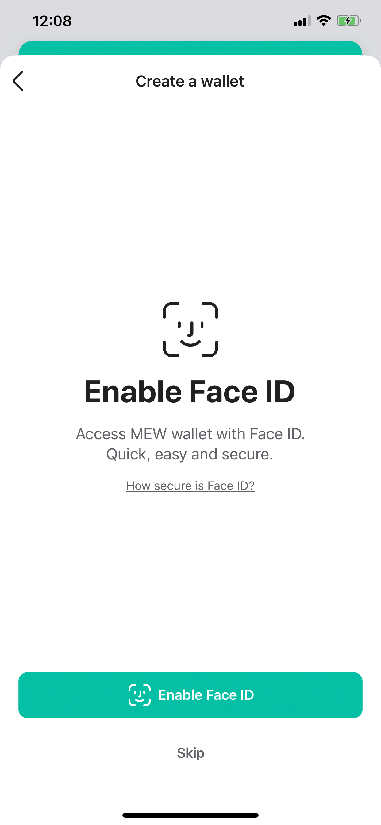 Image of MEW wallet face id