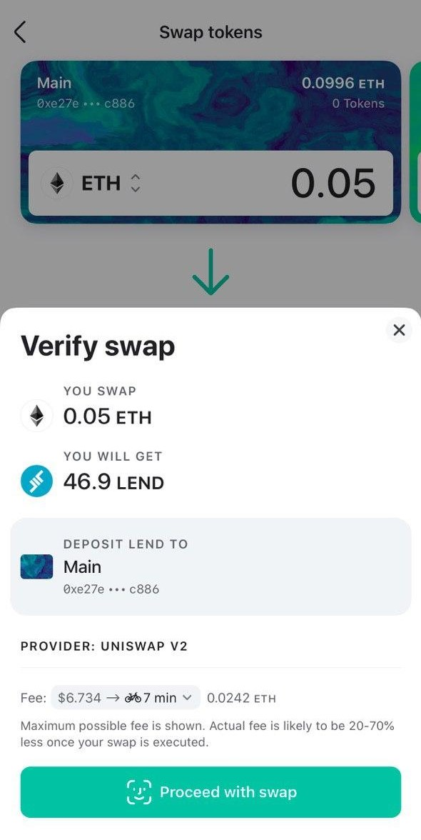 Image of MEW wallet proceed with swap
