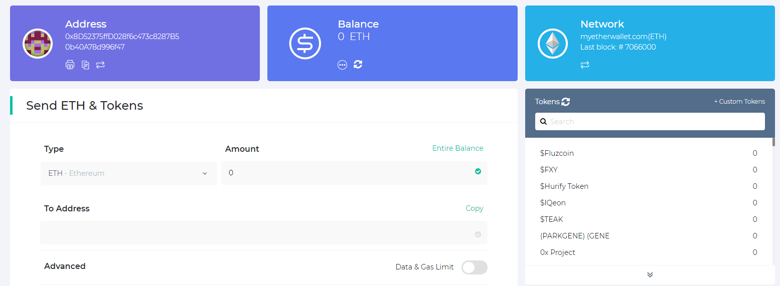 Image of accessed MEW wallet