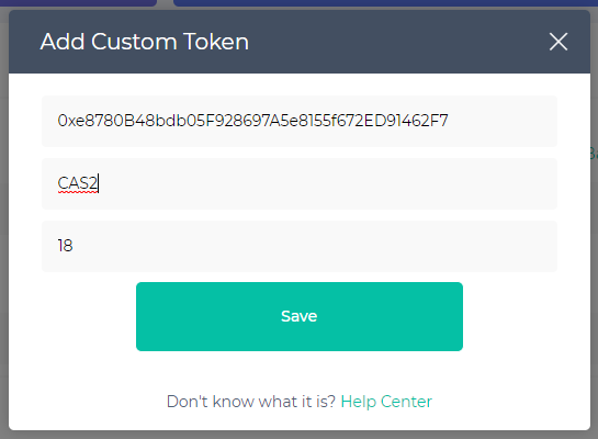 Image of adding custom token on MEW with '2' added