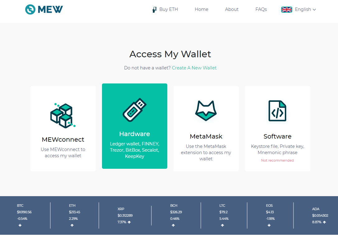 Image of MEW access wallet selection screen