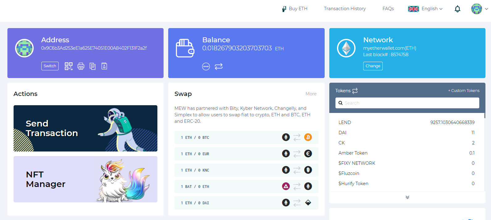 Image of MEW accessed wallet