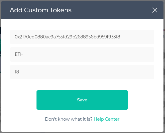 Image of adding ETH custom token